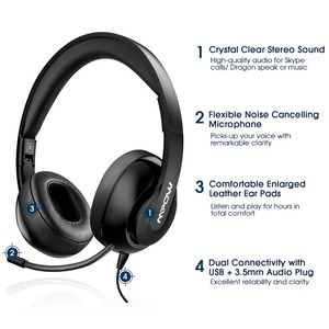 Image 2 - Mpow HC4 Over EarหูฟังตัดเสียงรบกวนคริสตัลClearไมโครโฟนชุดหูฟังAUX & USBปลั๊กสำหรับPC/iPad/แท็บเล็ต