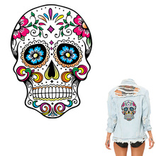 Patches 26*19cm West Coast Skull For Clothes Heat Transfer Iron On DIY T-Shirt Dresses Decoration Printing