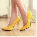 Das mulheres Baratos Simples tamanho grande (4-12) Escritório sapatos Único elegantes sapatos de salto alto do dedo do pé pontudo Bombas Senhora couro OL Amarelo Kovell