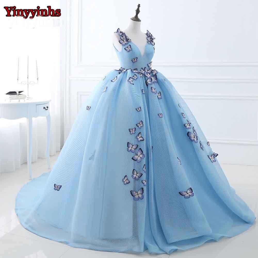 yinyyinhs hellblau schmetterling prom kleider ballkleid falte abendkleid  lange v-ausschnitt sleeveless formale abendkleid cg513