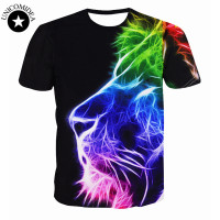 New Fashion Women Men Hip Hop T Shirt 3d Animal Printed Lion Head T Shirt Mens