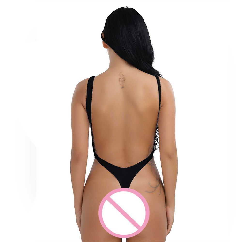 dcf6d15124c ... iEFiEL Sexy Women One-piece High Cut Backless Thong Leotard Bikini  Summer Beach Swimwear Body ...