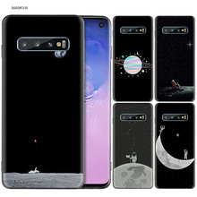 Space Moon Astronaut Black Silicone Case for Samsung Galaxy M20 S10e S10 S9 M10 S8 Plus 5G S7 S6 Edge Cover Coque