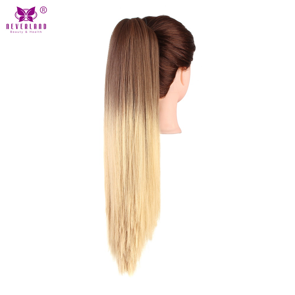 "Neverland Synthetic Straight Claw Ponytail Hair Clip in Hair Extension Fake Pony Tail 20"" 50cm Ombre Wigs Pony Tail Hairpiece"