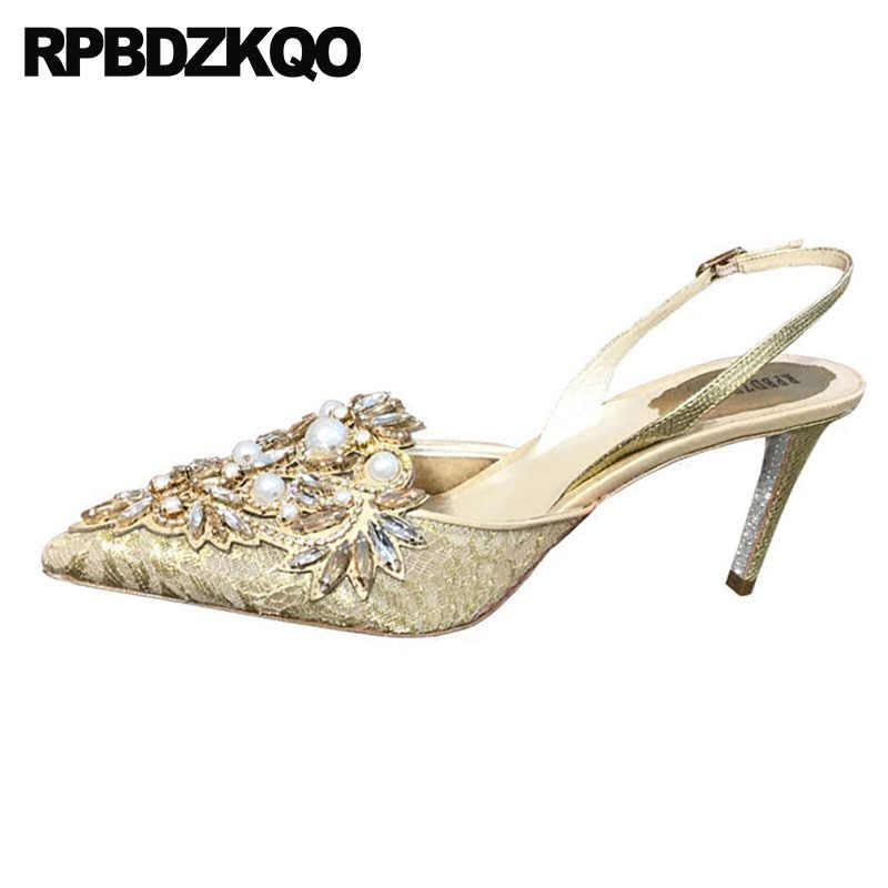 e45f3bea4bb7 ... Mesh Pumps Lace Pearl Crystal Jewel Bride Pointed Toe Stiletto Shoes  Diamond Golden Ladies Rhinestone High ...