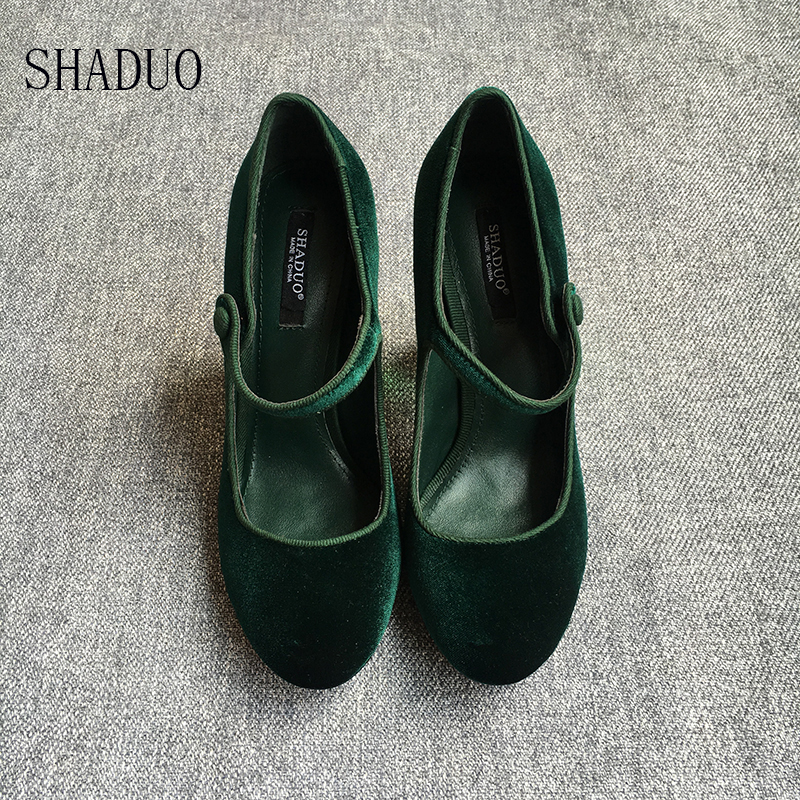 shaduo womenGenuine Leather stitching velvet heels with sparkling crystal glass heel with Czech diamond luxury wedding