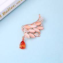 Angel Wings Opal Bros Kostum Warna Rose Gold Peri Kaca Drop untuk Wanita Fashion Perhiasan Pin(China)