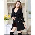 Mujeres Cashmere Coat nuevo 2015 Casacos Femininos mujeres de lana delgado abrigos mujer otoño invierno 4 colores abrigo más el tamaño Z115