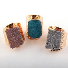 Fashion Vintage Women Rings Natural Druzy Adjustable Lady Ring