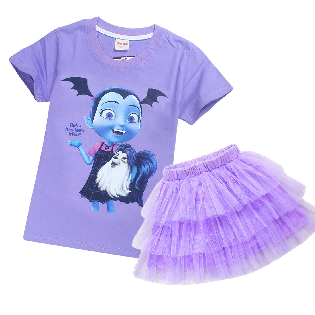 Childrens Set Princess Girls Summer Dresses Junior Vampirina Cosplay Costume Kids Birthday Party Gift Tutu Fantastic Fluffy Veil
