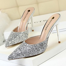New Women Sandals Shoes Bling Sequined Cloth Concise Slip-On Shallow 9.5cm Thin High Heels Sexy Female Pumps Slippers Shoes hanbaidi luxury bling bling sequined cloth women summer slippers candy color bowknot decor peeptoe slip on celebrity shoes