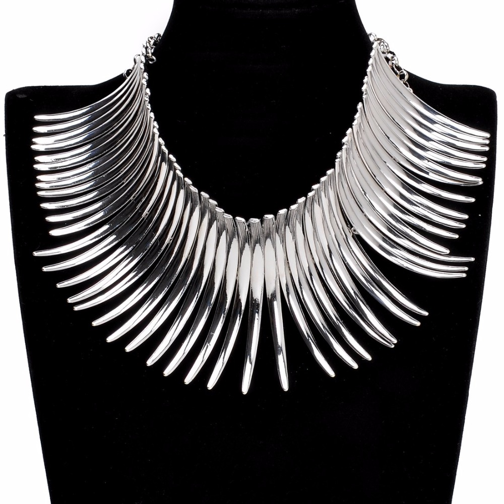 Lady Fashion Unique Xmas Gift Jewelry 6 Colors Sparkling Silver Golden Chunky Choker Noble New Toques Bib Pendant Necklace in Choker Necklaces from Jewelry Accessories
