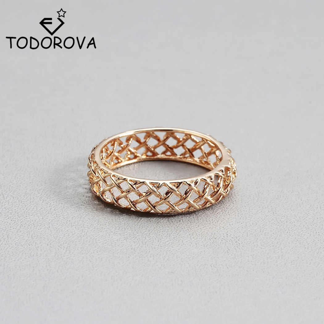 Todorova Geometric Hollow Finger Rings For Women Wedding Band Cocktail Engagement Wedding Rings Men Jewelry