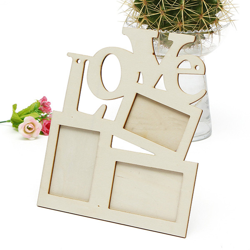 New Lovely Hollow Love Wooden Photo Picture Frame Rahmen White Base Home Decor