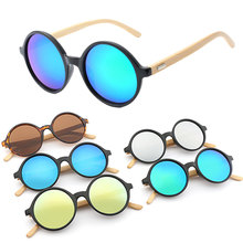 2019 Vintage Bamboo Round Wooded Sunglasses Wood Legs Sunglasses Women Brand Designer Men Driving Eyewear luxury antique wooded