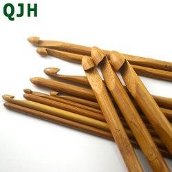 12 pçs/set Carbonizado Bambu Agulhas de Crochê Ganchos, Agulhas de Tricô, Ferramentas De Tricô Camisola Cachecol Chapéu Ferramentas de Tecelagem
