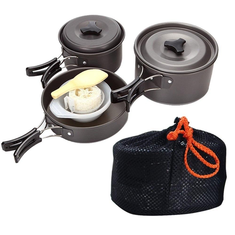 2-3 personnes Camping ustensiles de cuisine en plein air batterie de cuisine ensemble de cuisine vaisselle de Camping couverts de voyage ustensiles randonnée pique-nique ensemble