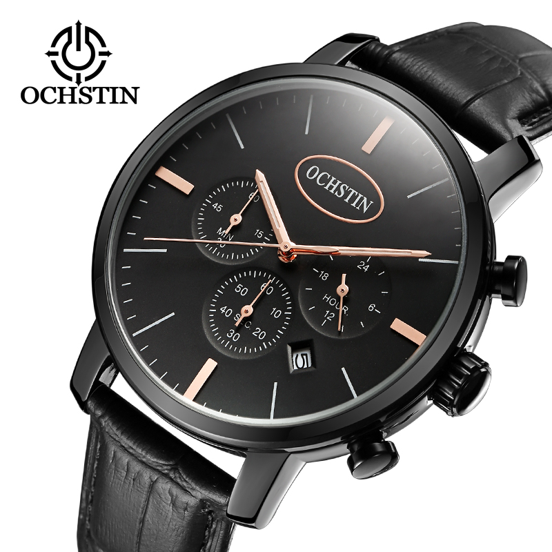OCHSTIN Mode herrklockor Chronograph Function Men Business Water Resistant Quartz Armbandsur Relogio Masculino