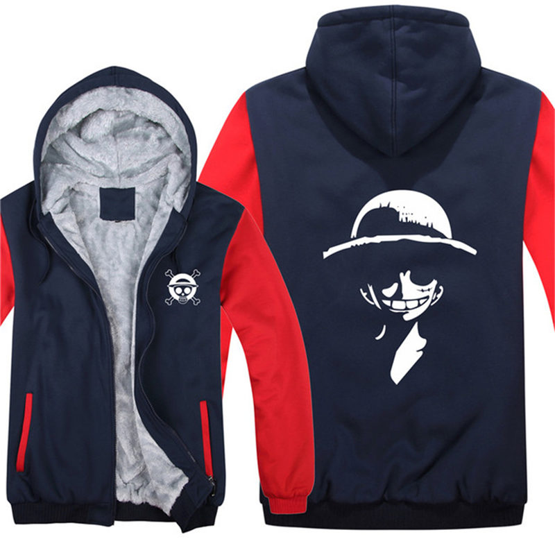 Winter Men Zipper Hoodies Anime Monkey D Luffy Jacket Men