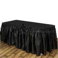 Zwart Wholesale Prijs Satijn Geplooide Tafel Rok \ Bruiloft Tafel Plint Gebruikt Voor Tafelkleed