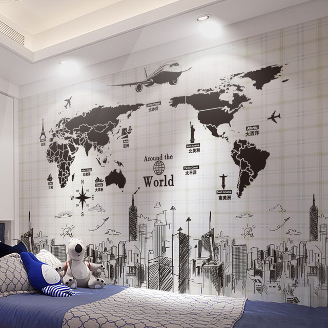 [SHIJUEHEZI] World Map Wall Stickers PVC Material DIY Buildings Wall Art for Living Room Company School Office Decoration