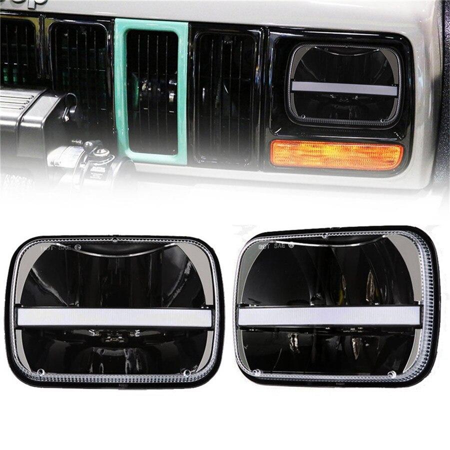5 x 7inch Rectangular LED Headlights w/DRL Turn Signal for Jeep Wrangler YJ Cherokee XJ Trucks Offroad Headlamp