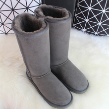 BLIVTIAE Australia Luxury Winter Knee High Sheepskin Snow Boots Natural Wool Sheep Fur Boots Women Long Classic Leather Boots