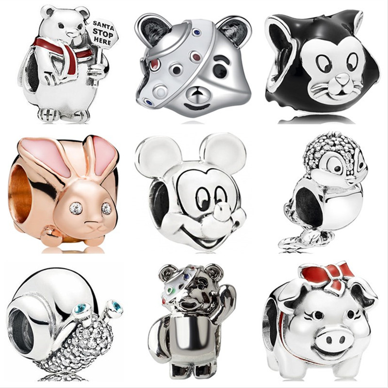 Mickey Beads Bracelets Charms Day-Gifts Bear Children's Cute Original Pandora Women Enamel