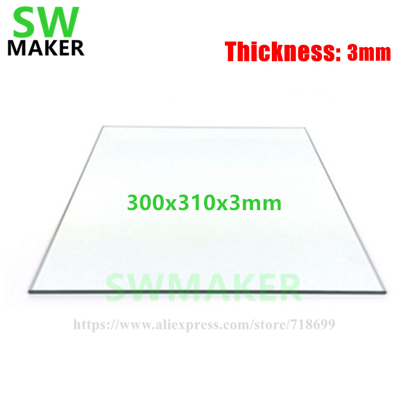 SWMAKER 300x310x3mm Large Size Printing 3D Printer Borosilicate Glass plate Build Plate 3MM thickness Glass plate