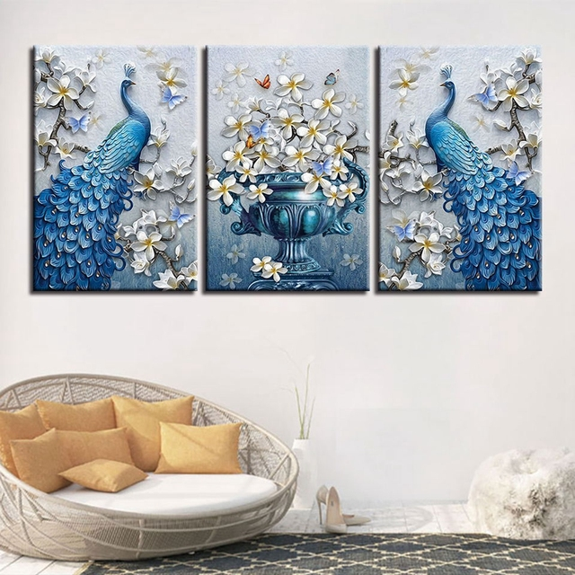 Blue Peacock Picture HD Print Orchid Flower Butterfly Canvas Wall Art  Painting For Living Room Wall