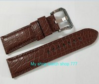 24mm Watch band strap brown crocodile Genuine leather carving pattern watch buckle 43A