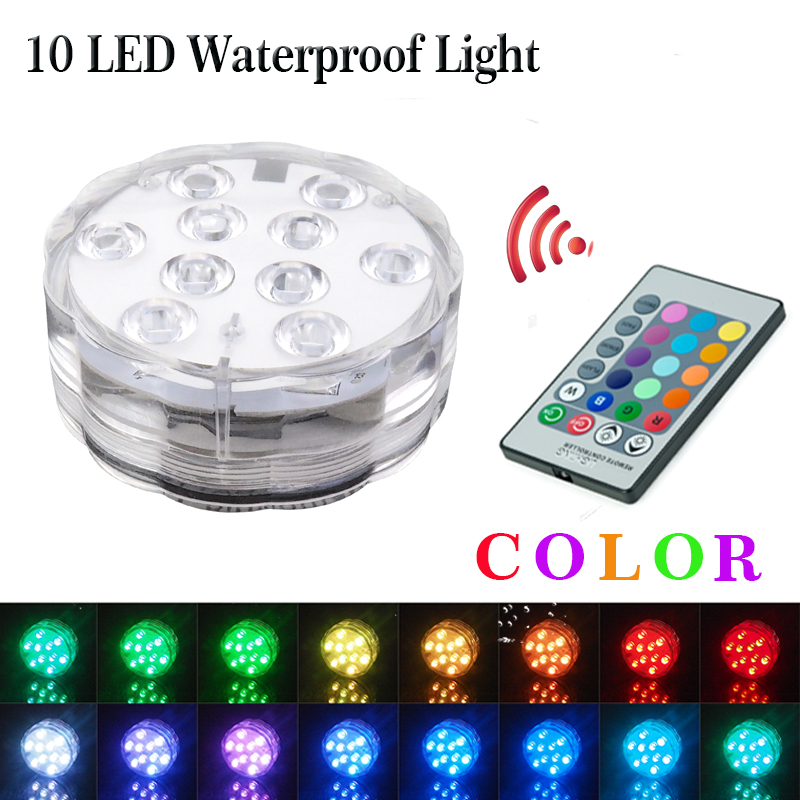 10 Led RGB Underwater Night Lamp Submersible Light Remote Controlled Swimming Pool Light Garden Party Decoration Free Shipping