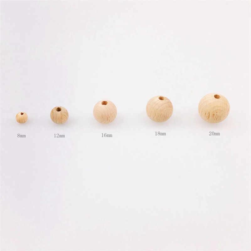 2019 10-150 قطعة جديد غرامة نوعية لم تنته الخرز الخشبي 8-20 مللي متر التسنين الخرز الخشب مستديرة عضاضة الخرز للطفل الرعاية لعبة مجوهرات