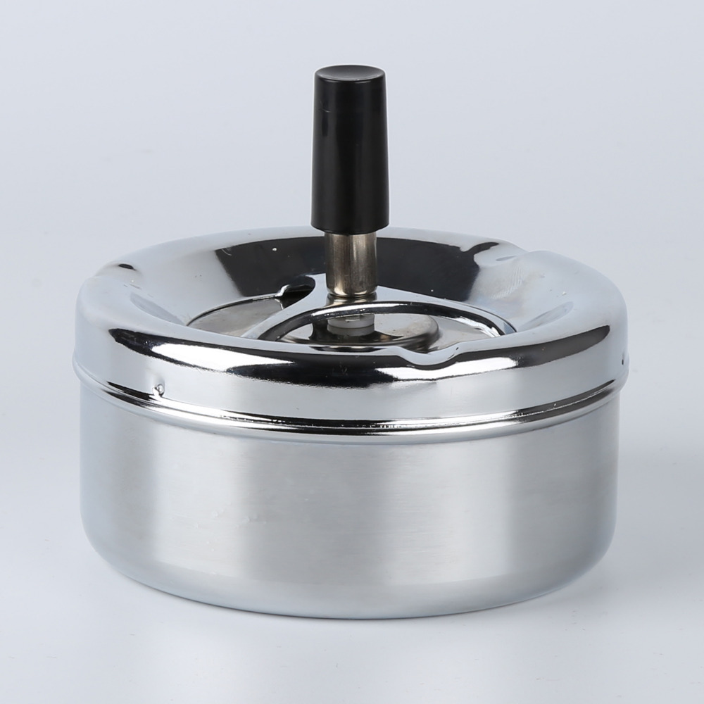 Stainless Steel Wind Proof Type Ash Cylinder Round Cigarette Cigar Ashtray Smoking Accessories Cigarette Ash Storage Case Gifts oil drum shaped no smoking sign pattern stainless steel ashtray pen holder white red black