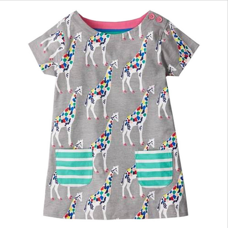 Baby girls 2-7T summer dresses kids short sleeves cartoon dress with printed some giraffes girls cute princess dress hot selling menoea girls dress new 2018 clothes 100% summer fashion style cartoon cute little white cartoon dress kitten printed dress