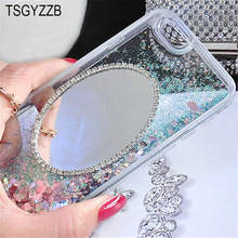 For iphone 6 6S Case Mirror Dynamic Liquid Glitter Quicksand 8 X 7 Plus 5 Luxury Cute Clear Soft TPU Phone Cover