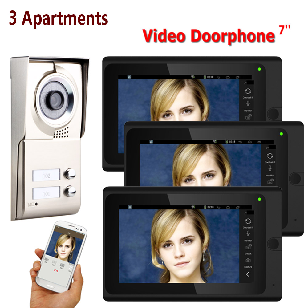 7inch Record Wired Wifi 3 Apartments Video Door Phone Intercom System IR-CUT HD 1000TVL Camera Doorbell Camera With 3 Button 3 M