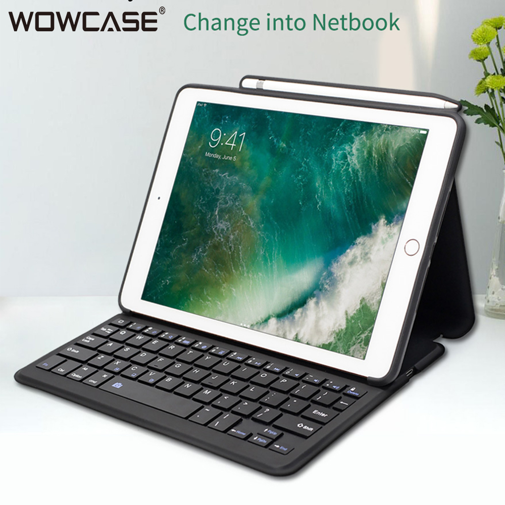 купить For iPad 2018 Case with Pencil Holder Keyboard WOWCASE Wireless Bluetooth Smart Leather Cases for iPad 2018 9.7 inch New Cover по цене 2651.22 рублей
