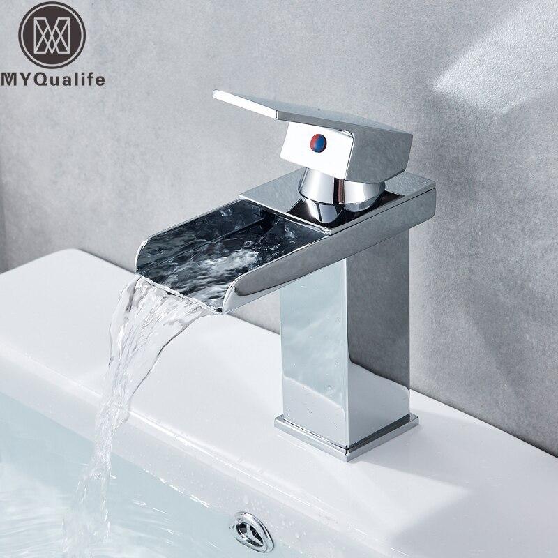 Бесплатная доставка Водопад Носик Одной ручкой Ванная комната раковина судно кран бассейна смесителя хромированная отделка