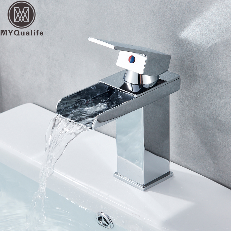 цена на Free Shipping Waterfall Spout Single Handle Bathroom Sink Vessel Faucet Basin Mixer Tap Chrome Finish