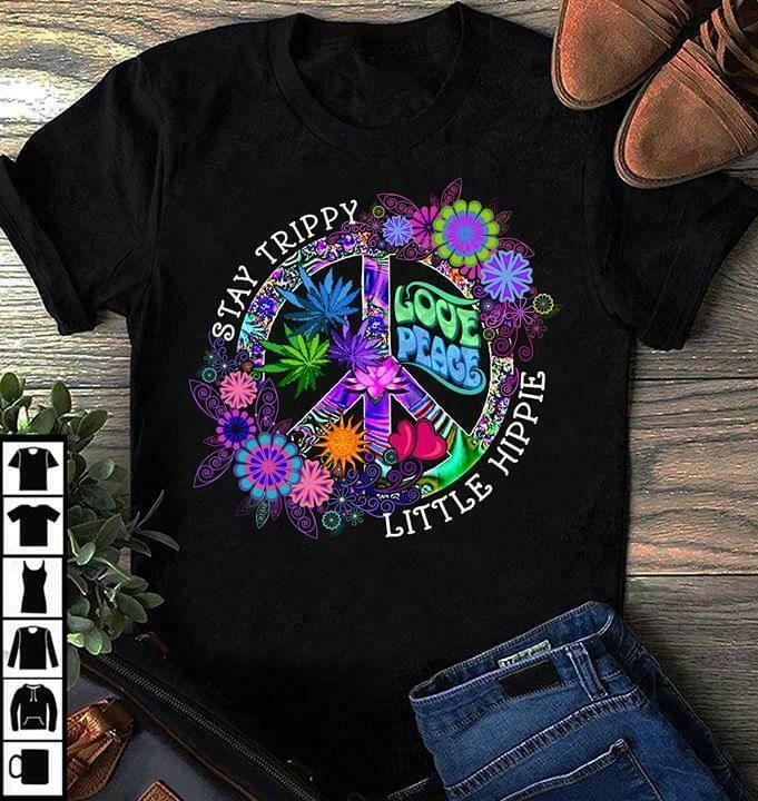 Hippie Stay Trippy Little Hippie Love Peace Men Black T Shirt Cotton S 6Xl