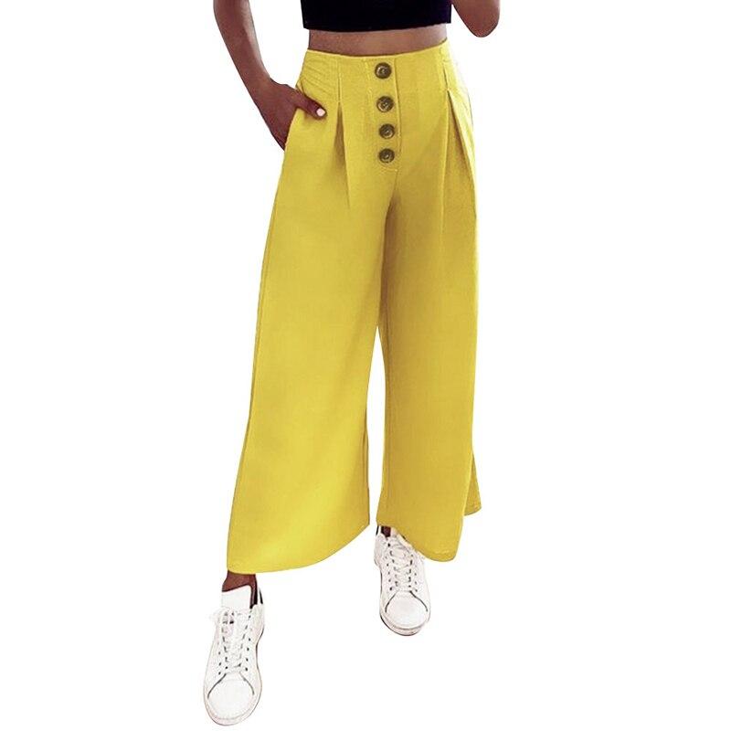 Summer New Women   Wide     Legs     Pants   Solid Casual High Waist Button Trousers Female Loose   Pants   2019 Pantalon Femme SJ3530Y