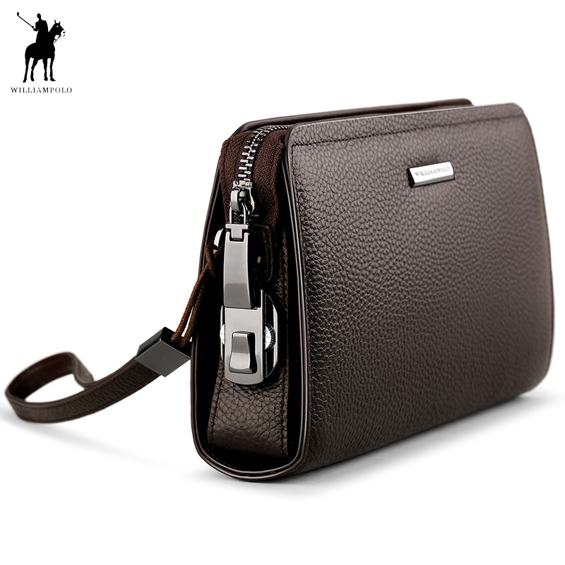 WILLIAMPOLO Brand Genuine Leather Mens Clutch Wallet With Coded Lock Cowhide Men Wallet Business Man Clutch