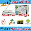 2017 caixa de IPTV Europa África Ásia Árabe Caixa De IPTV livre tv, 800 Mais IPTV Caixa de TV Canal, Android 4.4 Caixa de TV Inteligente Android 2 Anos