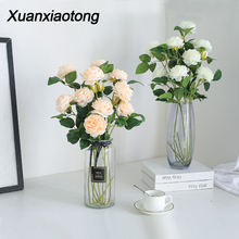 Xuanxiaotong 5pcs Blue Peonies Flowers Artificial Bouquet for Wedding Decor Home Decoration Accessories Fake Peony