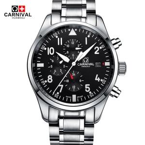 Часы-скелетоны, автоматические, карнавальные, высококачественные, 100 м, водонепроницаемые, механические, мужские часы с календарем, светящи...