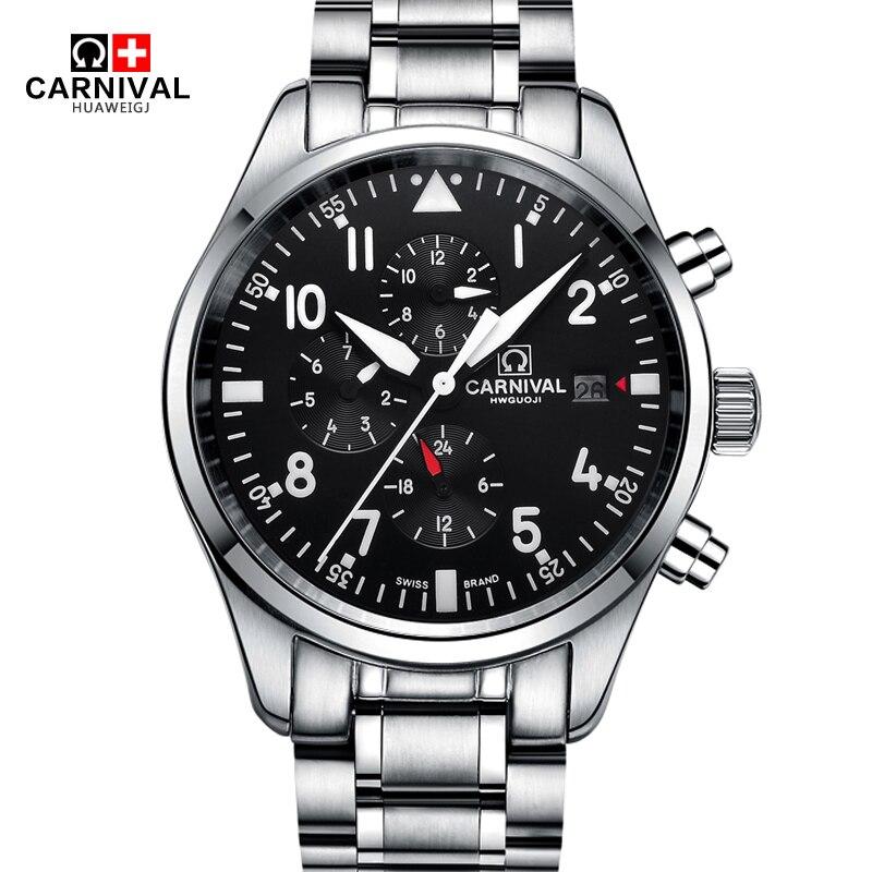 Scheletro della vigilanza CARNEVALE di fascia Alta 10bar Nuoto impermeabile orologio Automatico con 24 ore di Calendario HD Luminosa della vigilanza di Sport degli uomini