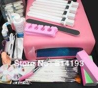 Pro 36 W Lampa UV ŻEL Różowy & 15 Nail Art Brush Zestawy Narzędzi