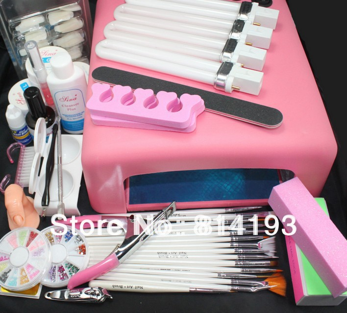 Pro 36W UV GEL Pink Lamp & 15 Brush Nail Art Tool Kits pro 36w uv gel pink lamp