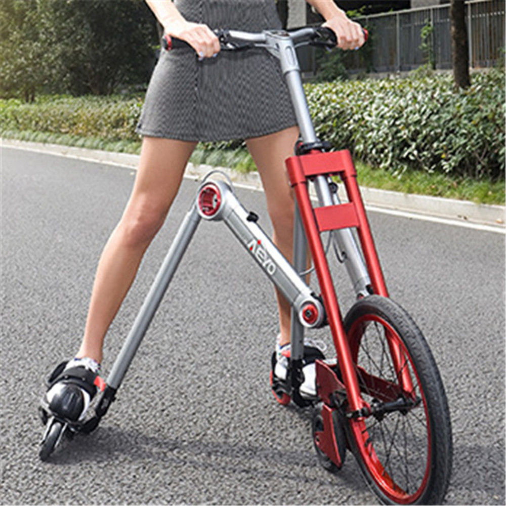 New Brand Second Generation 3 Wheel Skating Bike Mantis Car Creative Bicicleta Adult Damping Scooter Folding Bicycle image